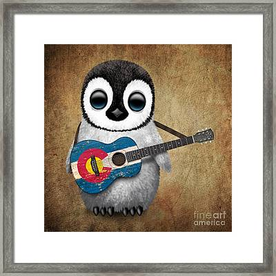 Baby Penguin Playing Colorado Flag Guitar Framed Print by Jeff Bartels