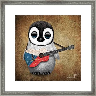 Baby Penguin Playing Czech Flag Guitar Framed Print by Jeff Bartels