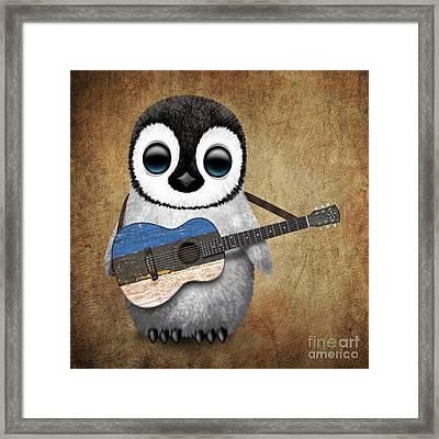 Baby Penguin Playing Estonian Flag Guitar Framed Print by Jeff Bartels