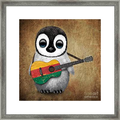 Baby Penguin Playing Lithuanian Flag Guitar Framed Print by Jeff Bartels