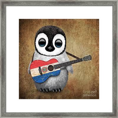 Baby Penguin Playing Paraguay Flag Guitar Framed Print
