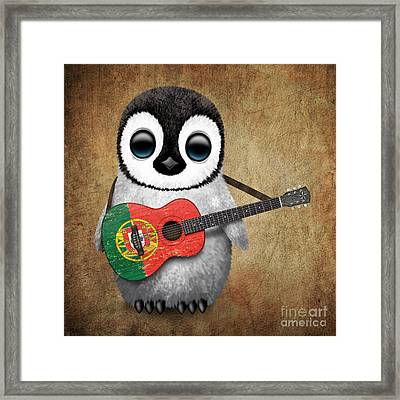 Baby Penguin Playing Portuguese Flag Guitar Framed Print by Jeff Bartels