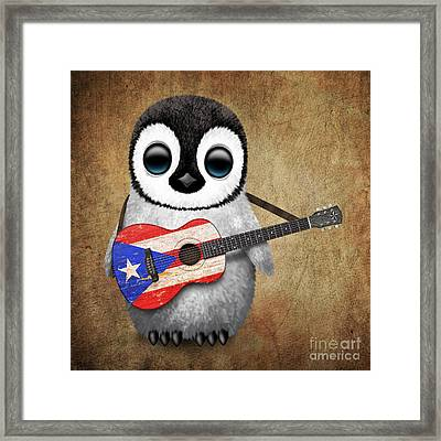 Baby Penguin Playing Puerto Rican Flag Guitar Framed Print