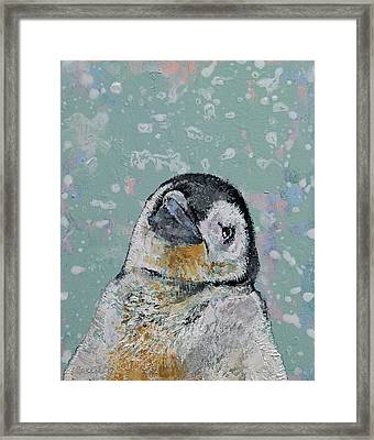 Baby Penguin Snowflakes Framed Print
