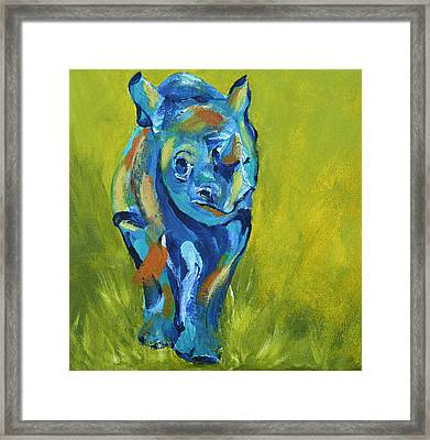 Baby Rhino Animal Art Painting Framed Print by Catherine Jeltes