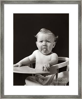 Baby Sticking Out Tongue, C.1930-40s Framed Print by H. Armstrong Roberts/ClassicStock