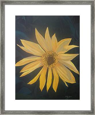 Framed Print featuring the painting Baby Sunflower by Betty-Anne McDonald