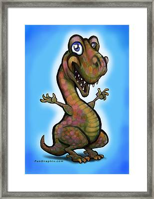 Framed Print featuring the painting Baby T-rex Blue by Kevin Middleton