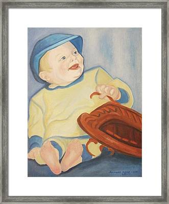 Baby With Baseball Glove Framed Print by Suzanne  Marie Leclair