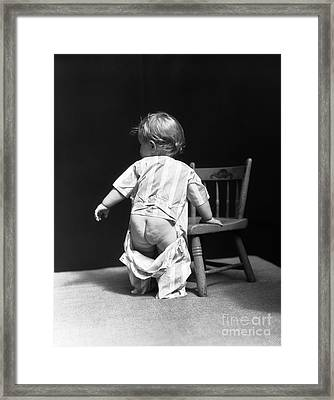 Baby With Unbuttoned Pajamas, 1930s Framed Print