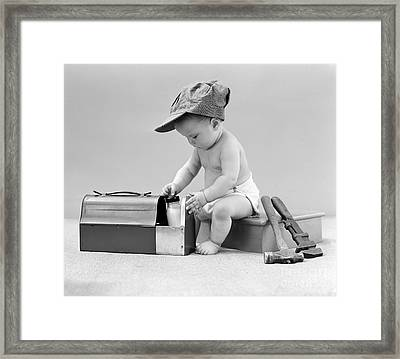 Baby With Work Tools And Lunch Pail Framed Print