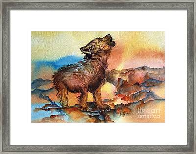 Baby Wolf Framed Print by Donna Martin