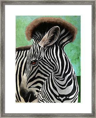 Framed Print featuring the painting Baby Zebra by Linda Apple