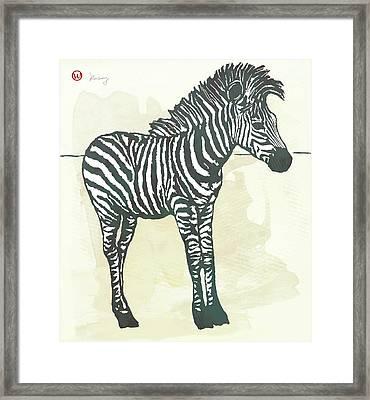 Baby Zebra - Stylised Pop Art Poster Framed Print