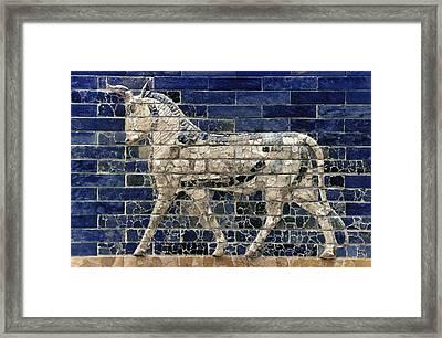 Babylon: Enamel Brick Bull Framed Print by Granger