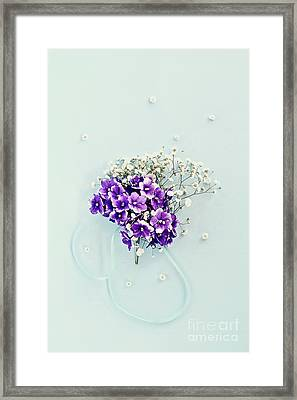 Framed Print featuring the photograph Baby's Breath And Violets Bouquet by Stephanie Frey