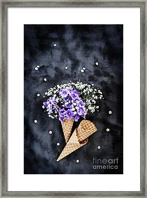 Framed Print featuring the photograph Baby's Breath And Violets Ice Cream Cones by Stephanie Frey