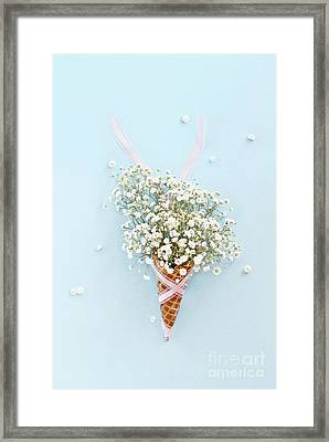Framed Print featuring the photograph Baby's Breath Ice Cream Cone by Stephanie Frey