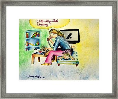 Babysitting Framed Print by Tanmay Singh