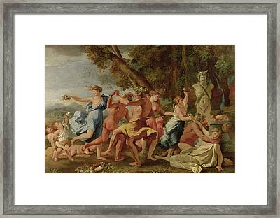 Bacchanal Before A Herm Framed Print by Nicolas Poussin
