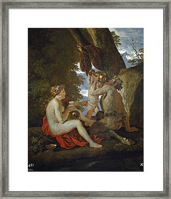 Bacchic Scene Or Nymph And Satyr Drinking  Framed Print by Nicolas Poussin