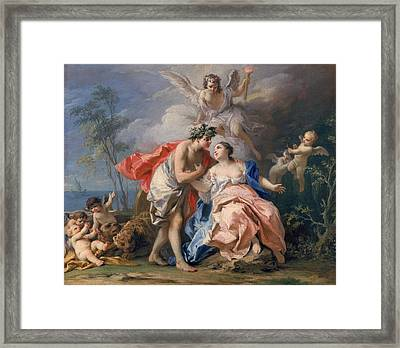 Bacchus And Ariadne Framed Print by Jacopo Amigoni