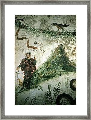 Bacchus, Roman God Of Wine, Stands Framed Print by O. Louis Mazzatenta