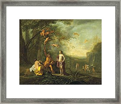 Bacchus Venus And Ceres Under A Grapevine In A Pastoral Landscape With Putti Nymphs And Satyrs Framed Print by Cornelius van Poelenburgh
