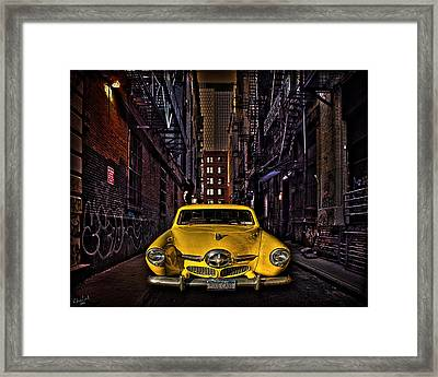 Back Alley Taxi Cab Framed Print