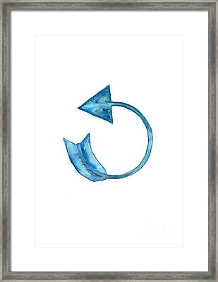 Back Arrow Watercolor Poster Framed Print