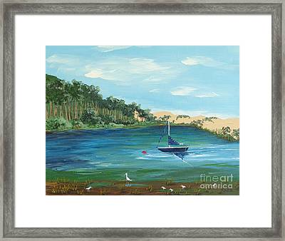 Back Bay From Back Bay Inn Los Osos Ca Framed Print by Katherine Young-Beck