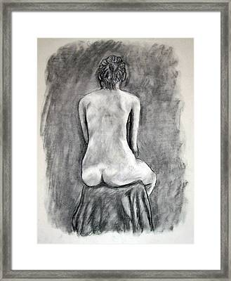 Framed Print featuring the drawing Back Beauty by Jean Haynes