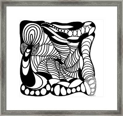 Back In Black And White 14 Modern Art By Omashte Framed Print by Omaste Witkowski