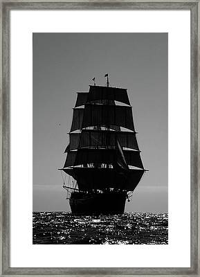 Back Lit Tall Ship Framed Print