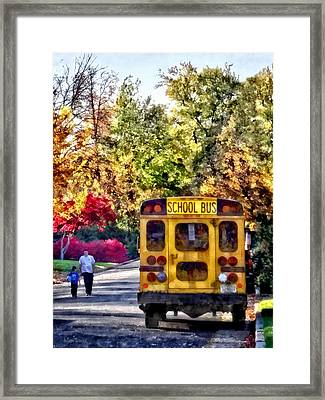 Back Of School Bus Framed Print by Susan Savad