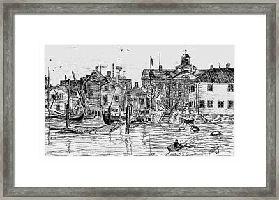 Back Of The Boat Yard On Eel Pond Framed Print by Vic Delnore