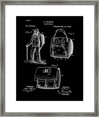Back Pack Patent 1882 Black Framed Print