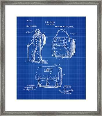 Back Pack Patent 1882 Blueprint Framed Print
