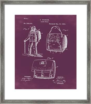 Back Pack Patent 1882 Red Framed Print