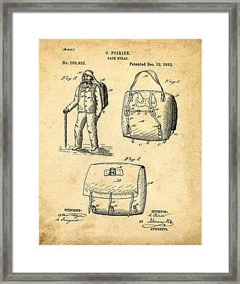 Back Pack Patent 1882 Sepia Framed Print