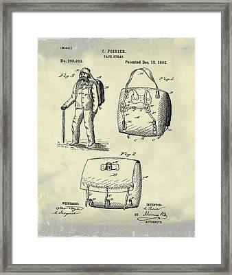 Back Pack Patent 1882 Vintage Framed Print