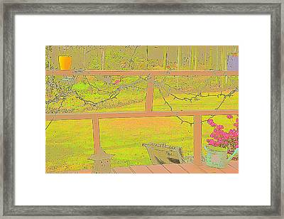 Back Porch And Flamingo Framed Print