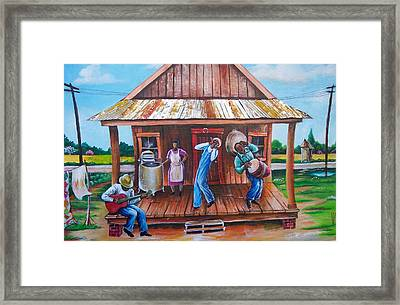 Back Porch Jamming Framed Print by Arthur Covington