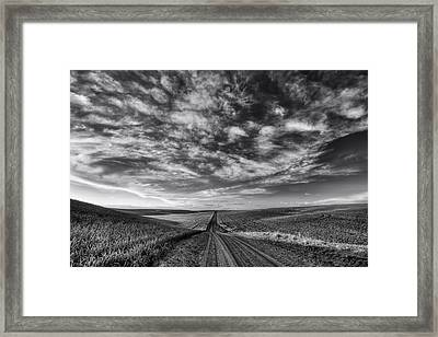 Back Road Solitude Black And White Framed Print