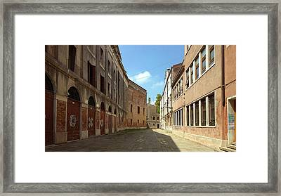 Framed Print featuring the photograph Back Street In Venice by Anne Kotan