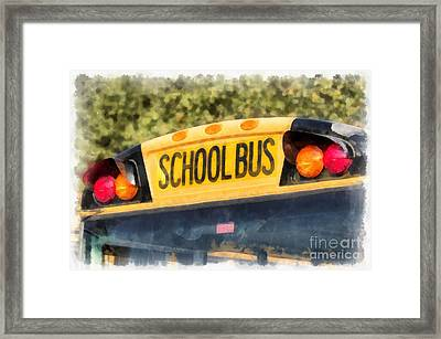 Back To School Bus Watercolor Framed Print by Edward Fielding