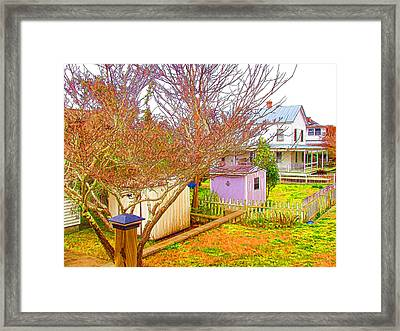 Back Yard Storage Shed  Framed Print by Lanjee Chee
