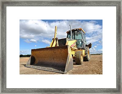 Backhoe Tractor Construction Framed Print by Brandon Bourdages
