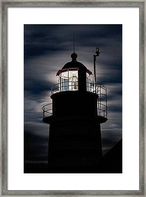 Backlight By Moonlight West Quoddy Head Lighthouse Framed Print by Marty Saccone
