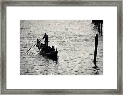 Backlit Gondola, Venice, Italy Framed Print by Richard Goodrich